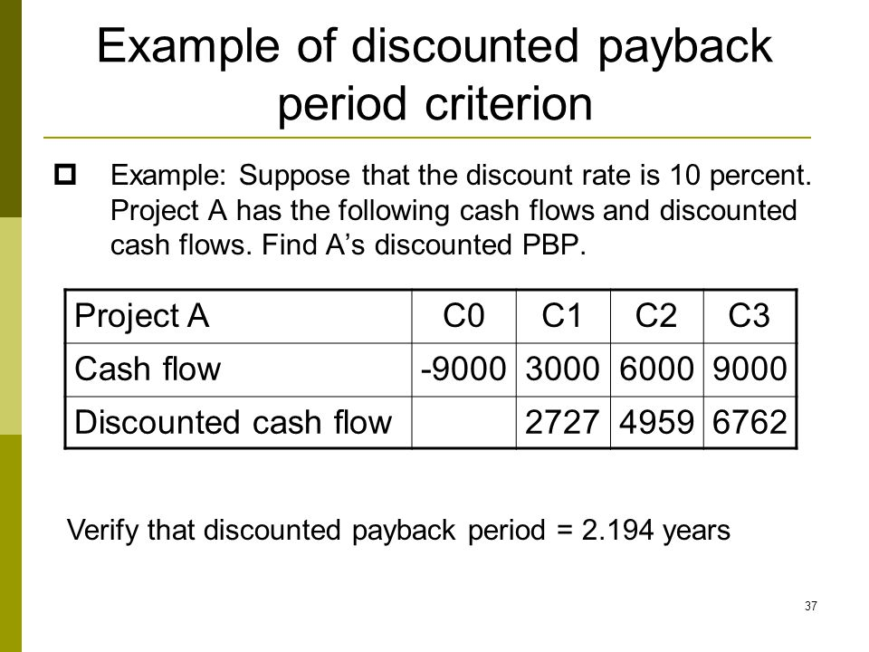 37 Example of discounted payback period criterion  Example: Suppose that the discount rate is 10 percent. Project A has the following cash flows and