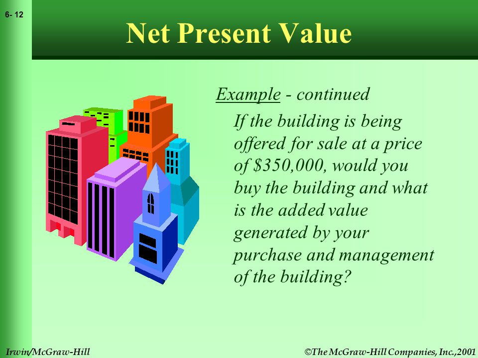 © The McGraw-Hill Companies, Inc.,2001 6- 12 Irwin/McGraw-Hill Net Present Value Example - continued If the building is being offered for sale at a price of $350,000, would you buy the building and what is the added value generated by your purchase and management of the building?