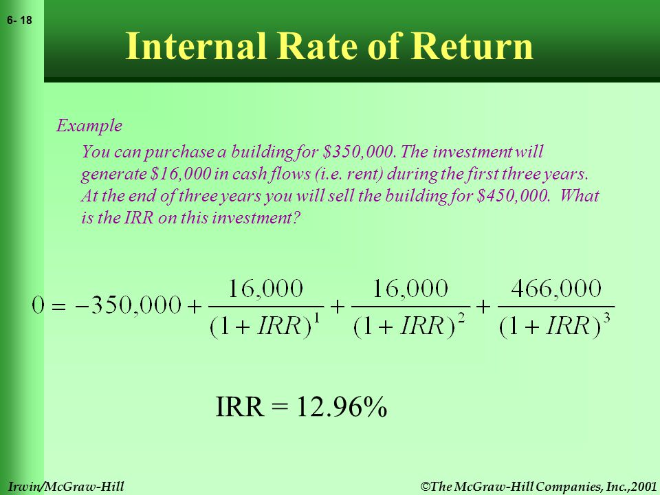 © The McGraw-Hill Companies, Inc.,2001 6- 18 Irwin/McGraw-Hill Internal Rate of Return Example You can purchase a building for $350,000.