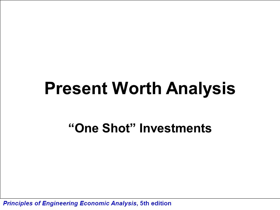 Principles of Engineering Economic Analysis, 5th edition Example 5.5 Two investment alternatives (1 & 2) are available, with the CFDs shown below.