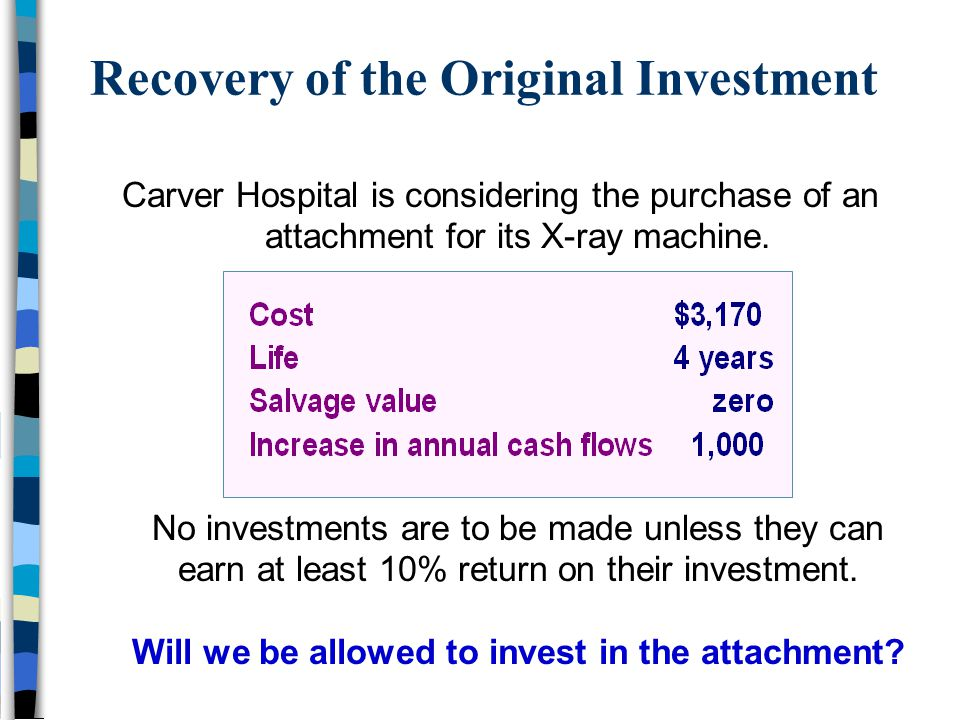 Recovery of the Original Investment Carver Hospital is considering the purchase of an attachment for its X-ray machine. No investments are to be made
