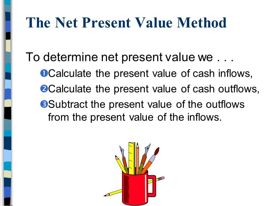 The Net Present Value Method To determine net present value we...  Calculate the present value of cash inflows,  Calculate the present value of cash