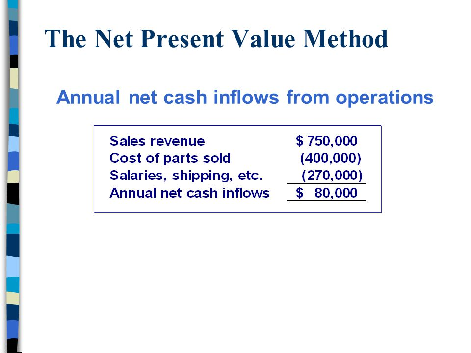 The Net Present Value Method Annual net cash inflows from operations