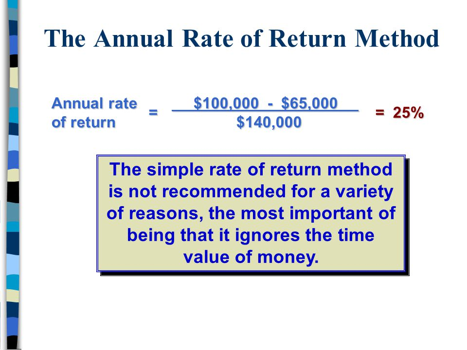 The Annual Rate of Return Method Annual rate of return $100,000 - $65,000 $100,000 - $65,000 $140,000 $140,000 = 25% = 25%= The simple rate of return