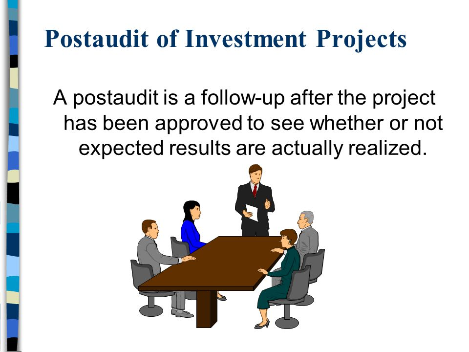 Postaudit of Investment Projects A postaudit is a follow-up after the project has been approved to see whether or not expected results are actually realized.