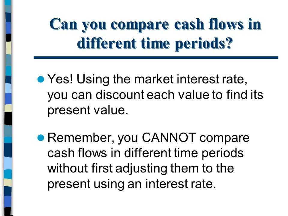 Can you compare cash flows in different time periods? Yes! Using the market interest rate, you can discount each value to find its present value. Reme