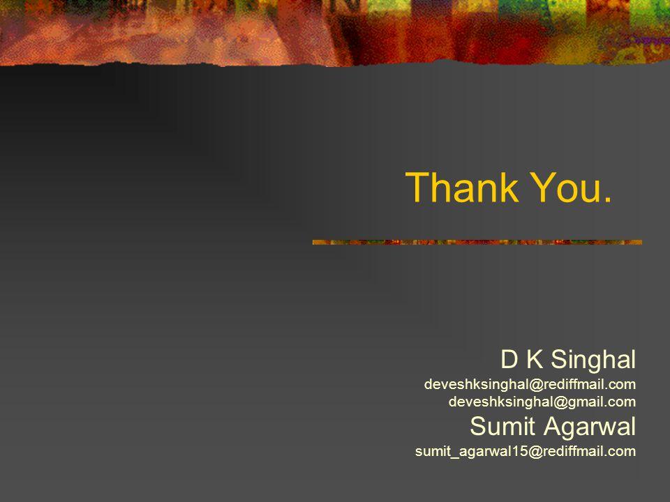 Thank You. D K Singhal deveshksinghal@rediffmail.com deveshksinghal@gmail.com Sumit Agarwal sumit_agarwal15@rediffmail.com