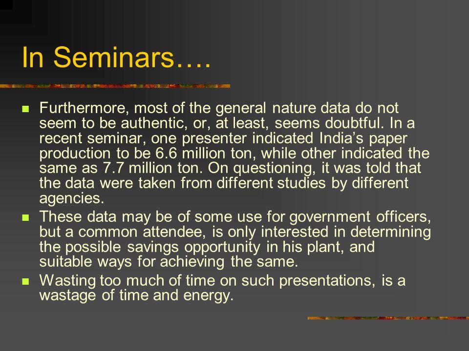 In Seminars….