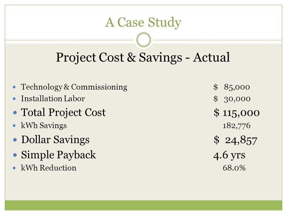 A Case Study Project Cost & Savings - Actual Technology & Commissioning$ 85,000 Installation Labor$ 30,000 Total Project Cost$ 115,000 kWh Savings 182