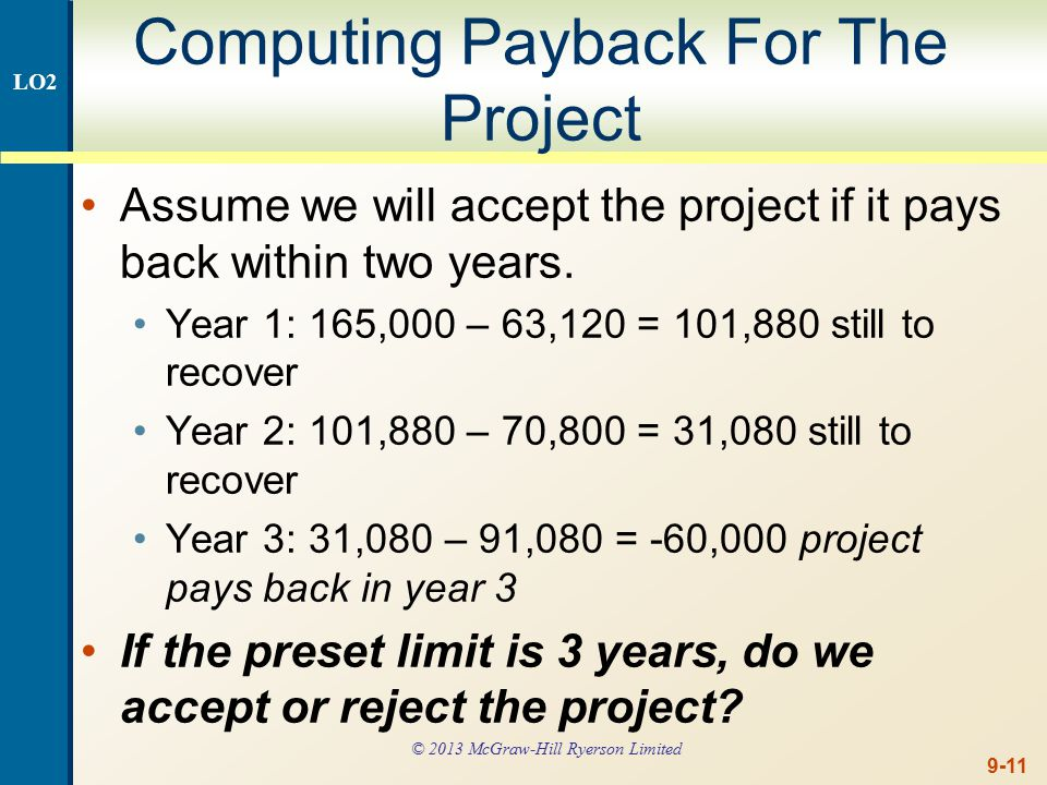 9-11 Computing Payback For The Project Assume we will accept the project if it pays back within two years.