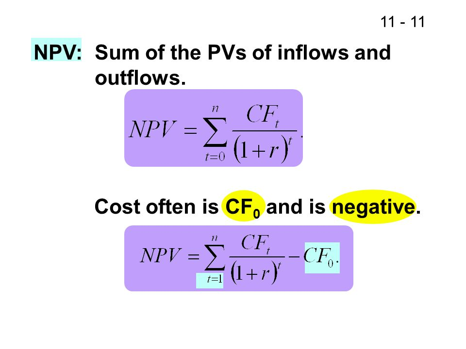 NPV:Sum of the PVs of inflows and outflows. Cost often is CF 0 and is negative.