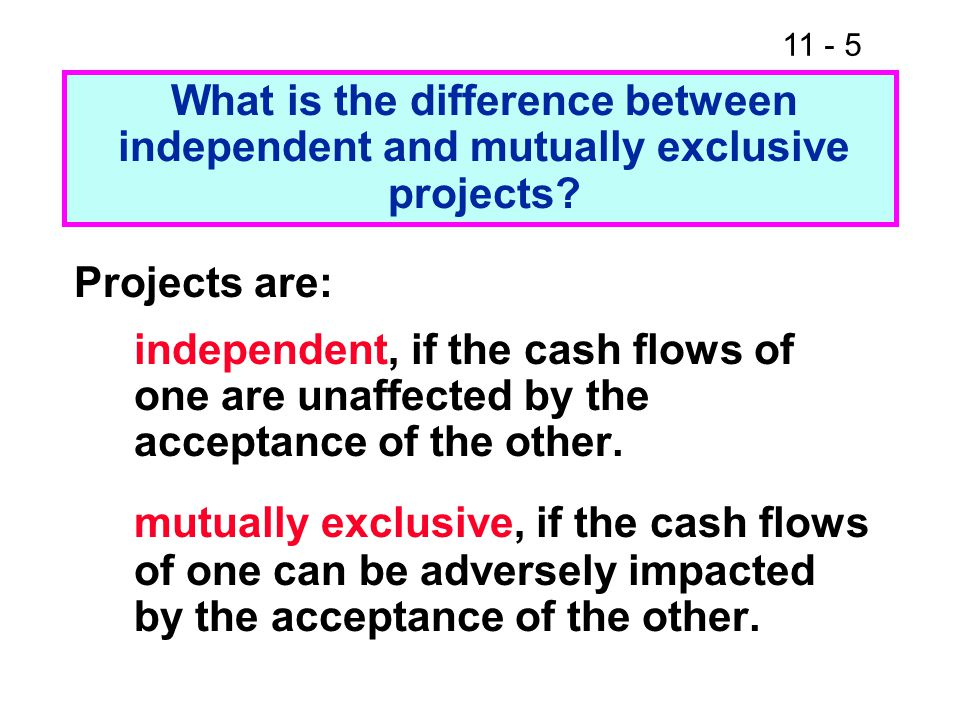 What is the difference between independent and mutually exclusive projects.