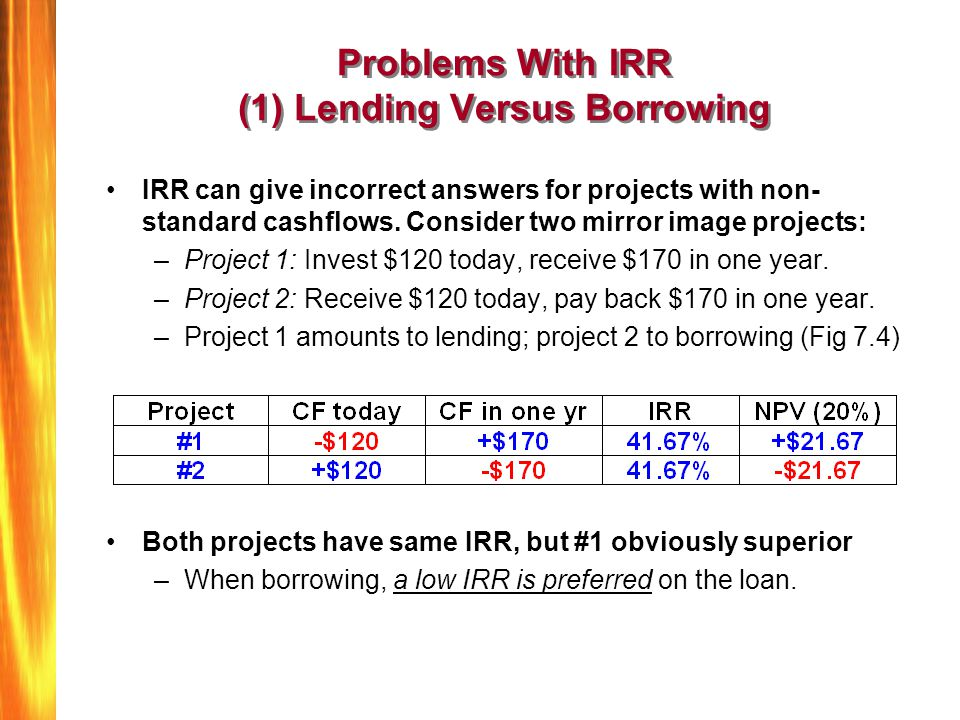 Problems With IRR (1) Lending Versus Borrowing IRR can give incorrect answers for projects with non- standard cashflows. Consider two mirror image pro