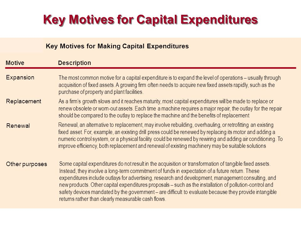 Key Motives for Capital Expenditures Key Motives for Making Capital Expenditures Motive Description Expansion Replacement Renewal Other purposes The m