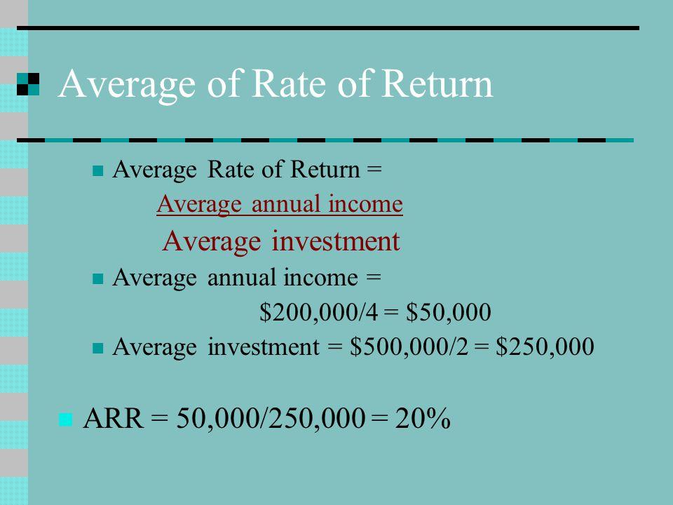 Average of Rate of Return Average Rate of Return = Average annual income Average investment Average annual income = $200,000/4 = $50,000 Average investment = $500,000/2 = $250,000 ARR = 50,000/250,000 = 20%