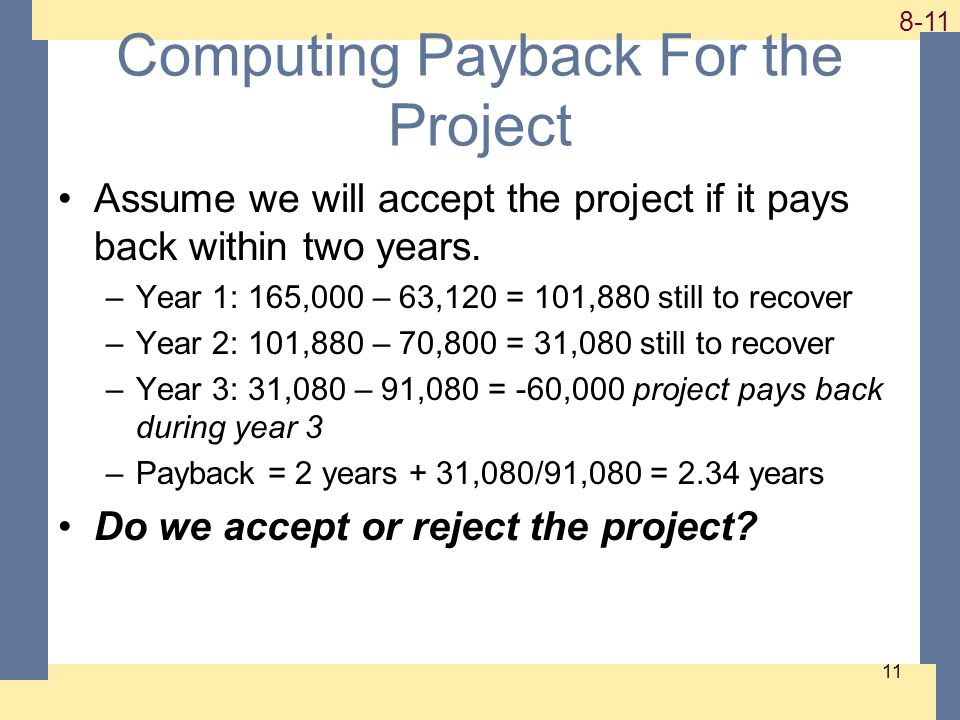 1-11 8-11 11 Computing Payback For the Project Assume we will accept the project if it pays back within two years.