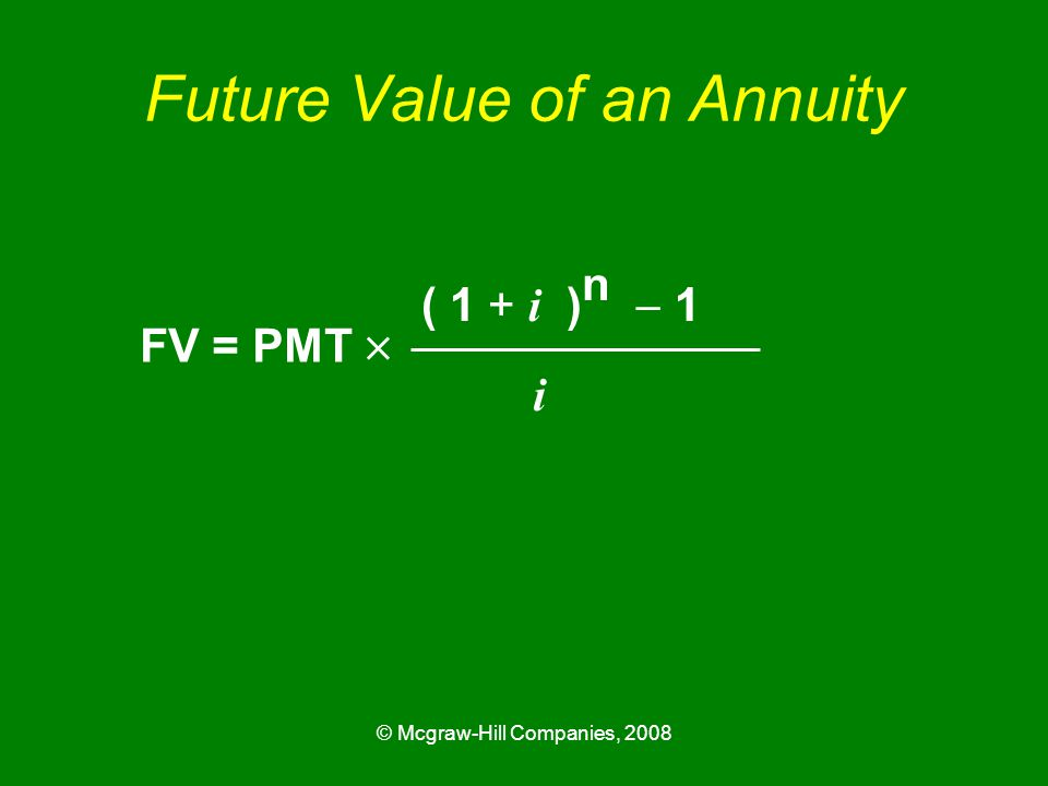 © Mcgraw-Hill Companies, 2008 Future Value of an Annuity FV = PMT  ( 1 + i ) n  1 i