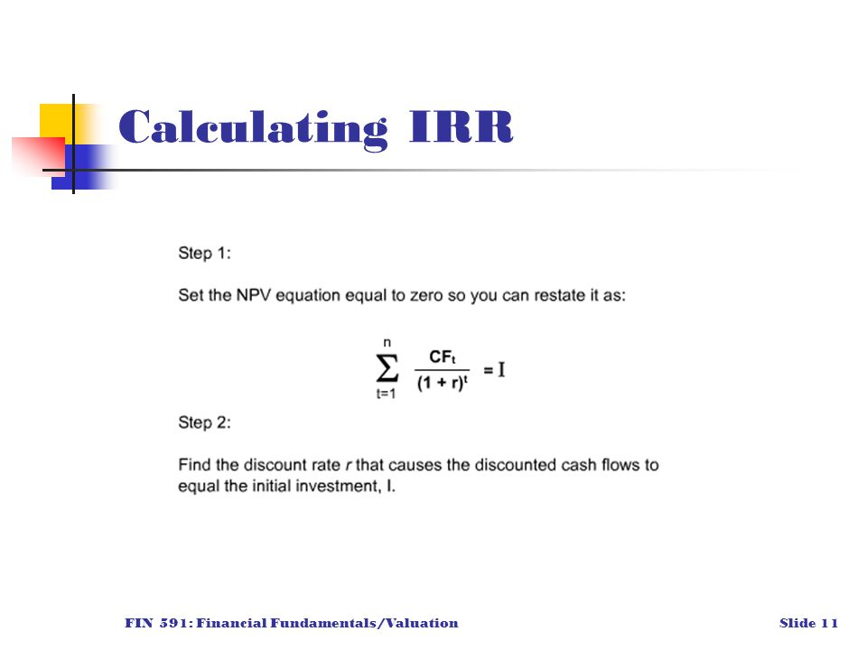 FIN 591: Financial Fundamentals/ValuationSlide 11 Calculating IRR