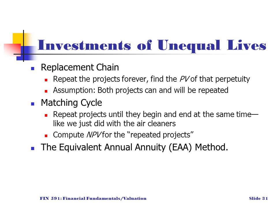 FIN 591: Financial Fundamentals/ValuationSlide 31 Investments of Unequal Lives Replacement Chain Repeat the projects forever, find the PV of that perpetuity Assumption: Both projects can and will be repeated Matching Cycle Repeat projects until they begin and end at the same time— like we just did with the air cleaners Compute NPV for the repeated projects The Equivalent Annual Annuity (EAA) Method.