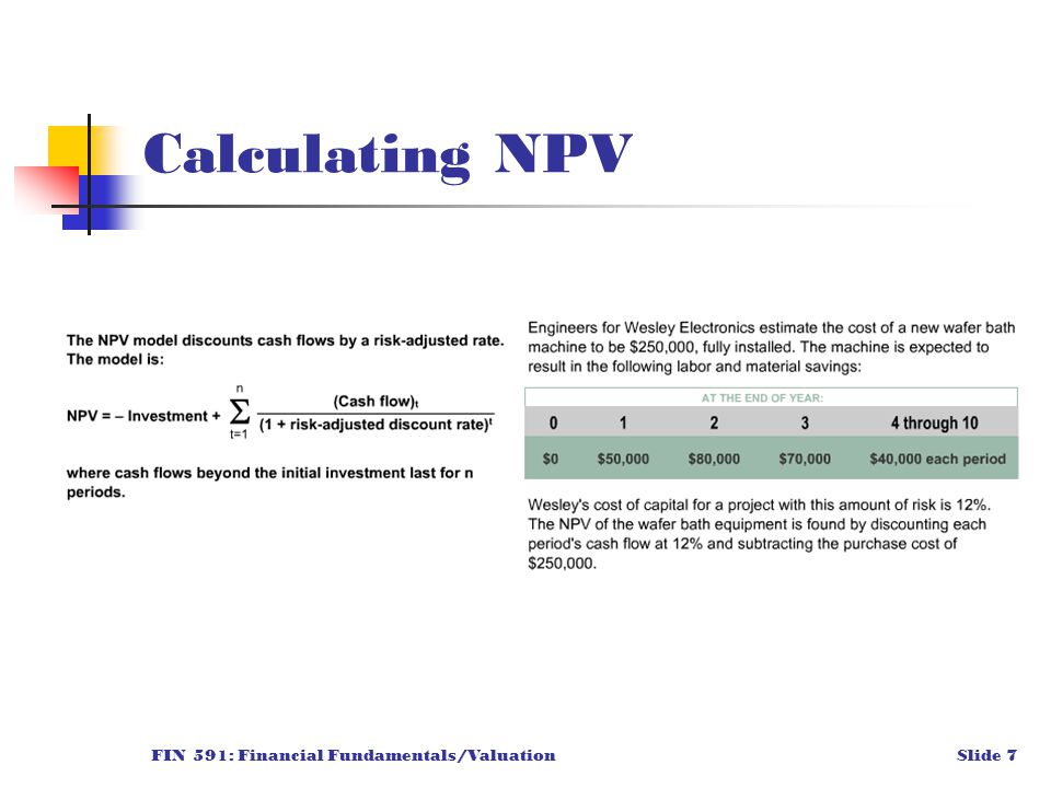 FIN 591: Financial Fundamentals/ValuationSlide 7 Calculating NPV