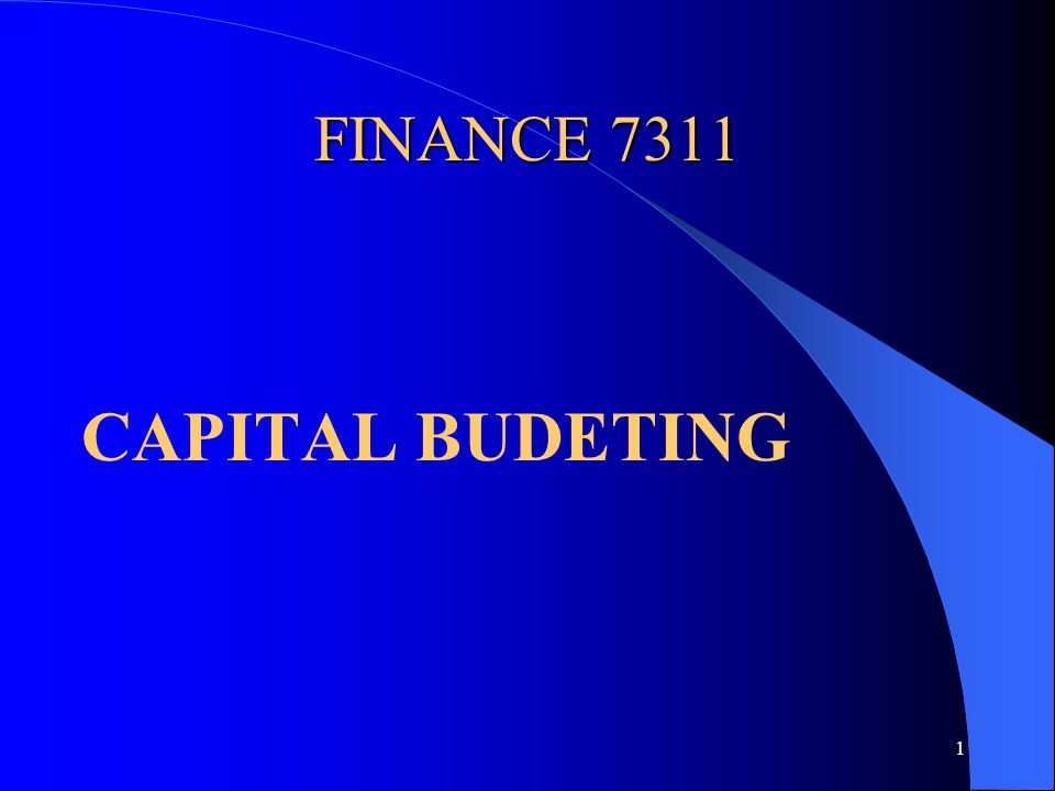 1 FINANCE 7311 CAPITAL BUDETING