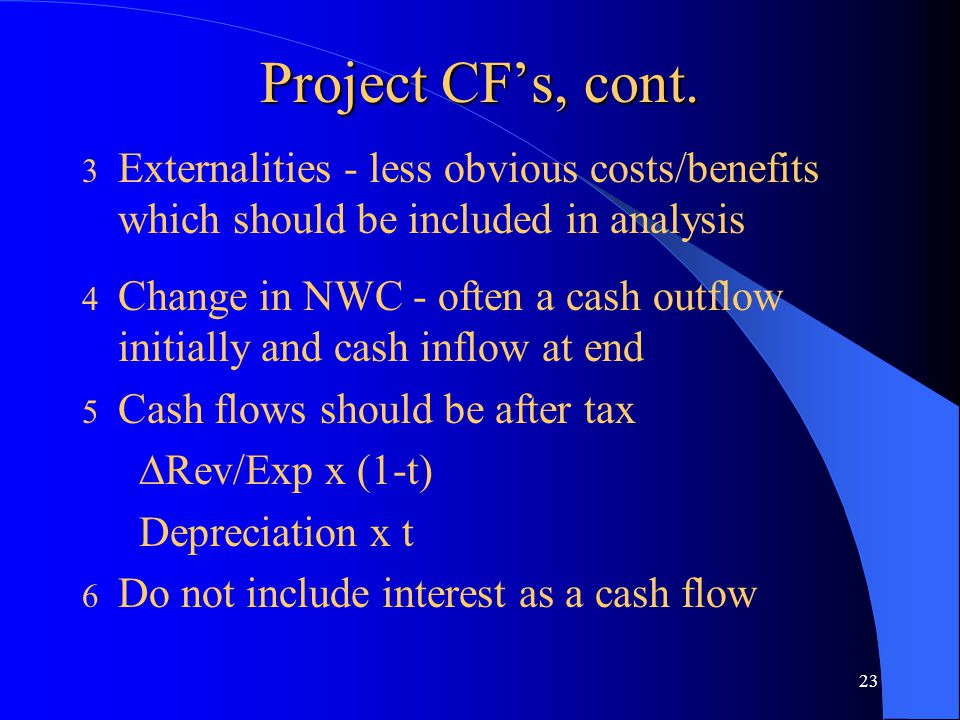 23 Project CF's, cont.