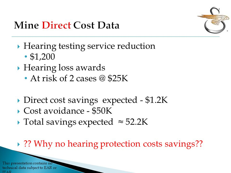 This presentation contains no technical data subject to EAR or ITAR  Hearing testing service reduction $1,200  Hearing loss awards At risk of 2 cases @ $25K  Direct cost savings expected - $1.2K  Cost avoidance - $50K  Total savings expected ≈ 52.2K  ?.