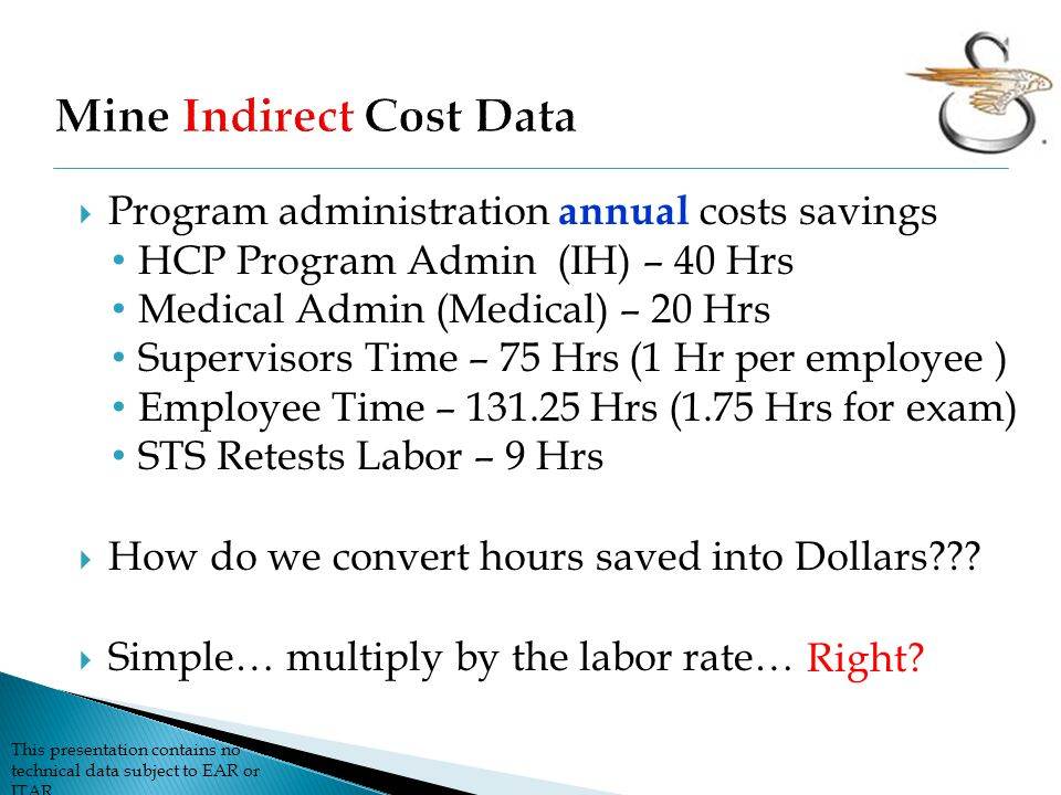 This presentation contains no technical data subject to EAR or ITAR  Program administration annual costs savings HCP Program Admin (IH) – 40 Hrs Medical Admin (Medical) – 20 Hrs Supervisors Time – 75 Hrs (1 Hr per employee ) Employee Time – 131.25 Hrs (1.75 Hrs for exam) STS Retests Labor – 9 Hrs  How do we convert hours saved into Dollars??.