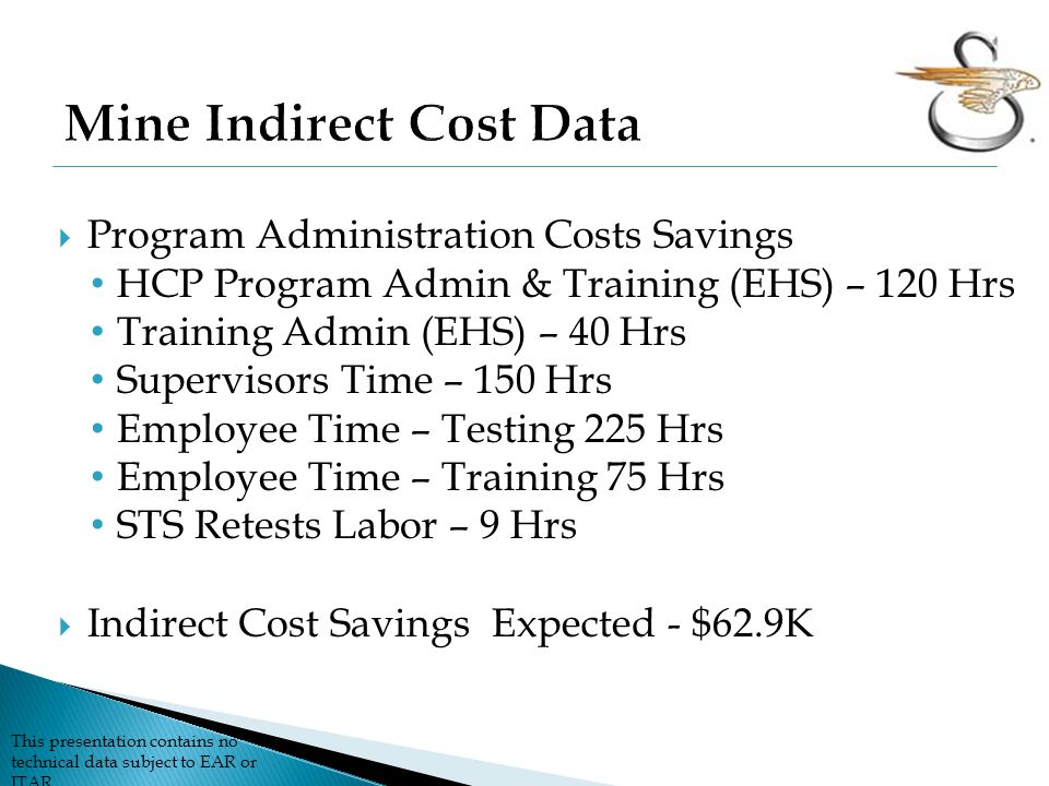 This presentation contains no technical data subject to EAR or ITAR  Program Administration Costs Savings HCP Program Admin & Training (EHS) – 120 Hrs Training Admin (EHS) – 40 Hrs Supervisors Time – 150 Hrs Employee Time – Testing 225 Hrs Employee Time – Training 75 Hrs STS Retests Labor – 9 Hrs  Indirect Cost Savings Expected - $62.9K