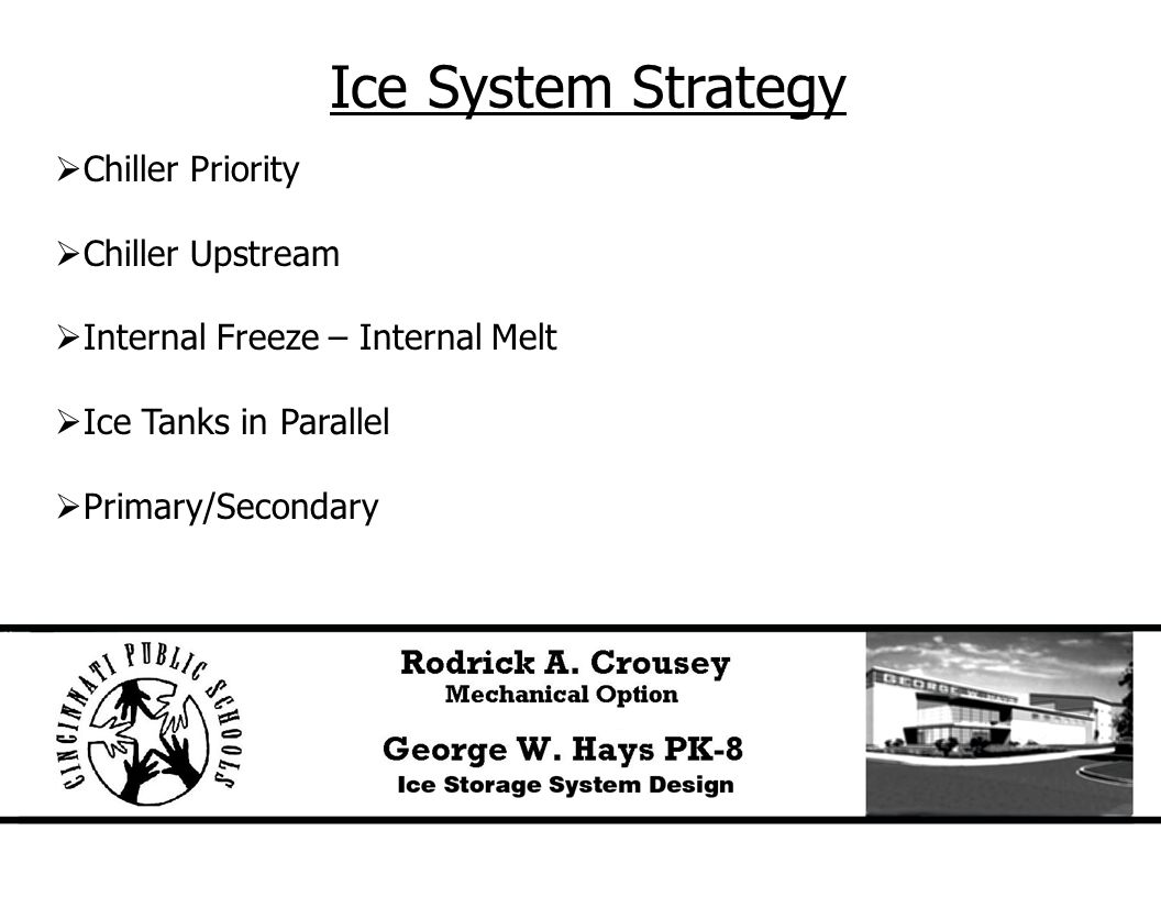 Ice System Strategy  Chiller Priority  Chiller Upstream  Internal Freeze – Internal Melt  Ice Tanks in Parallel  Primary/Secondary