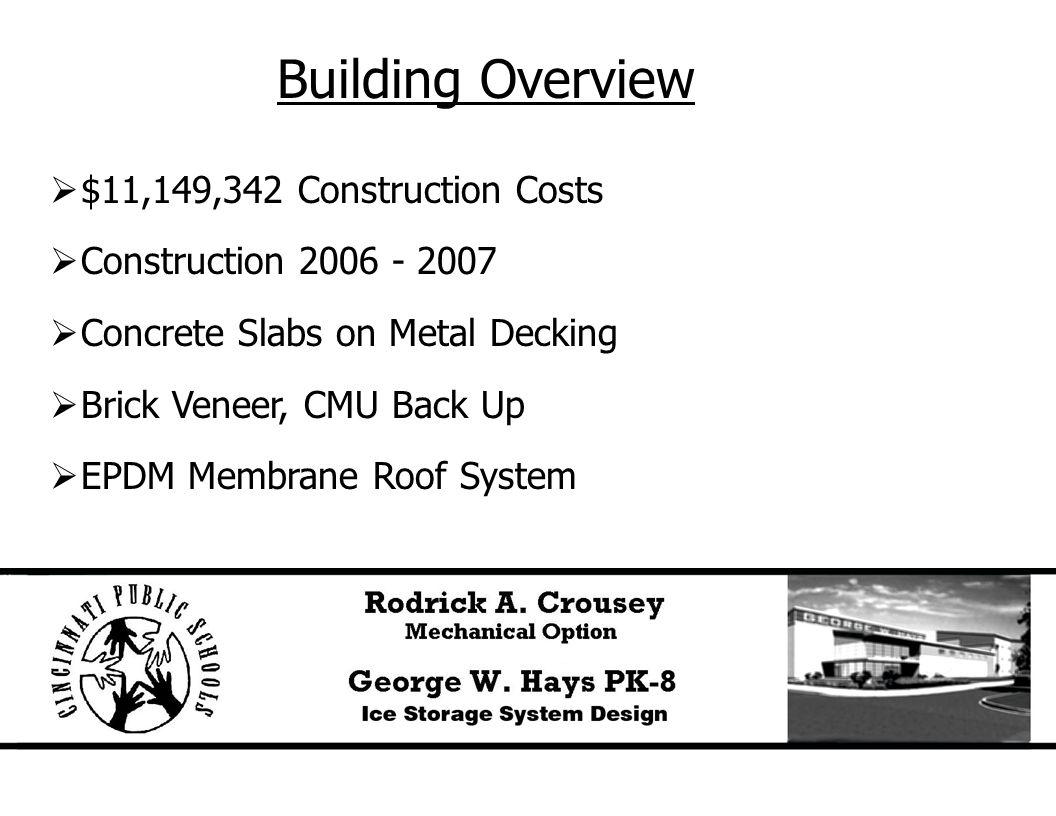 Building Overview  $11,149,342 Construction Costs  Construction 2006 - 2007  Concrete Slabs on Metal Decking  Brick Veneer, CMU Back Up  EPDM Membrane Roof System