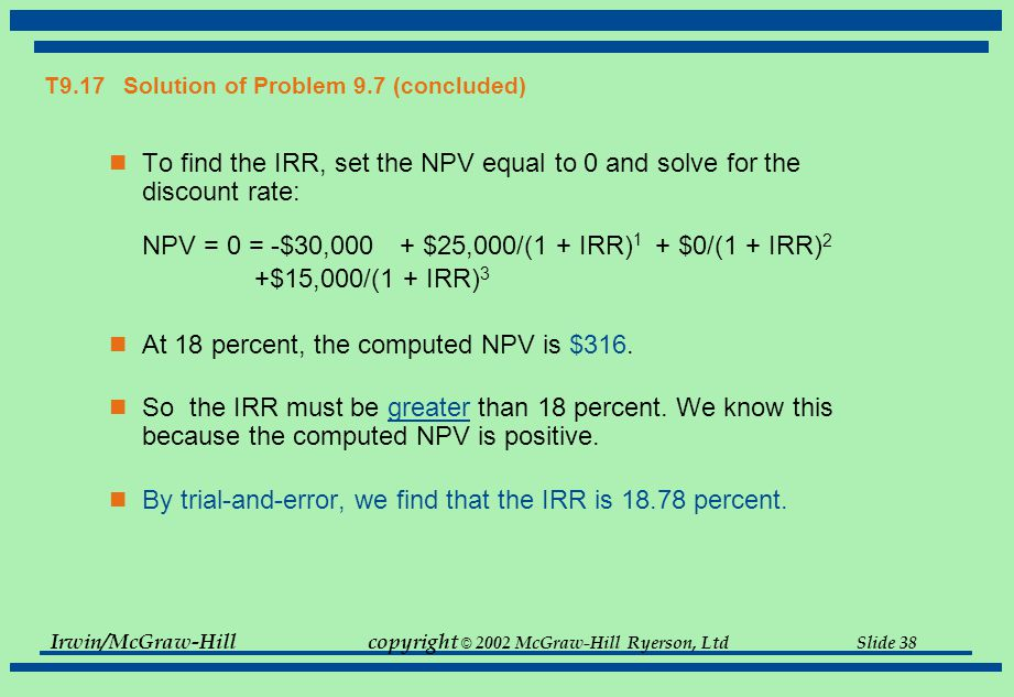 Irwin/McGraw-Hillcopyright © 2002 McGraw-Hill Ryerson, Ltd Slide 38 T9.17 Solution of Problem 9.7 (concluded) To find the IRR, set the NPV equal to 0 and solve for the discount rate: NPV = 0 = -$30,000 + $25,000/(1 + IRR) 1 + $0/(1 + IRR) 2 +$15,000/(1 + IRR) 3 At 18 percent, the computed NPV is $316.