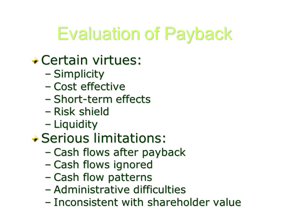 Evaluation of Payback Certain virtues: –Simplicity –Cost effective –Short-term effects –Risk shield –Liquidity Serious limitations: –Cash flows after