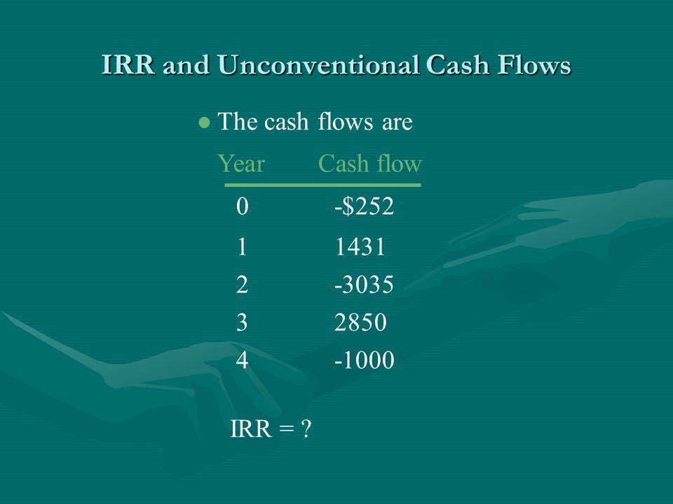 IRR and Unconventional Cash Flows l The cash flows are Year Cash flow 0-$252 11431 2-3035 32850 4-1000 IRR =