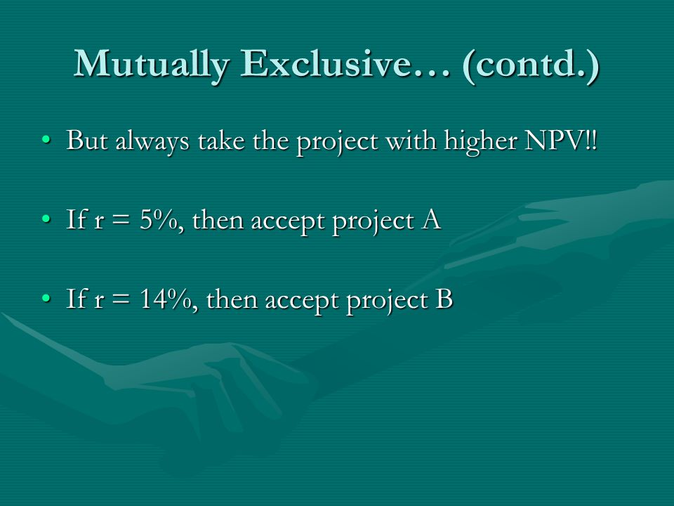 Mutually Exclusive… (contd.) But always take the project with higher NPV!!But always take the project with higher NPV!.