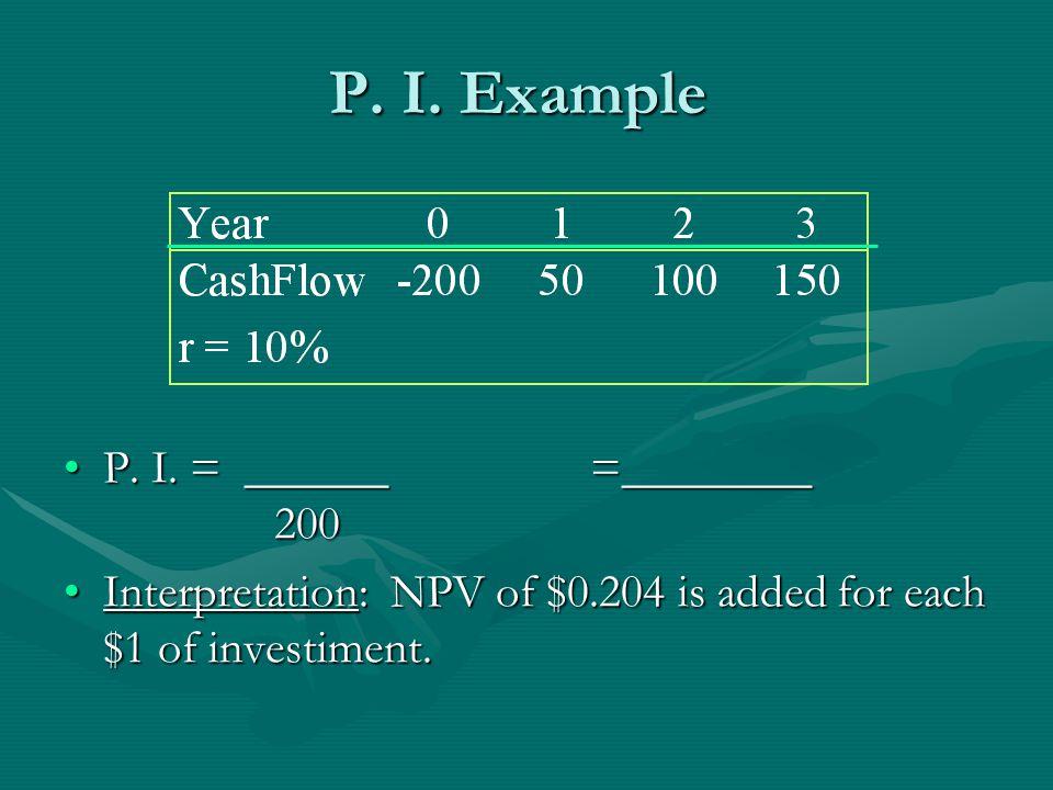 P. I. Example P. I. = ______=________ 200P. I.