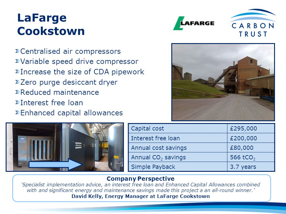 LaFarge Cookstown Capital cost£295,000 Interest free loan£200,000 Annual cost savings£80,000 Annual CO 2 savings566 tCO 2 Simple Payback3.7 years Cent