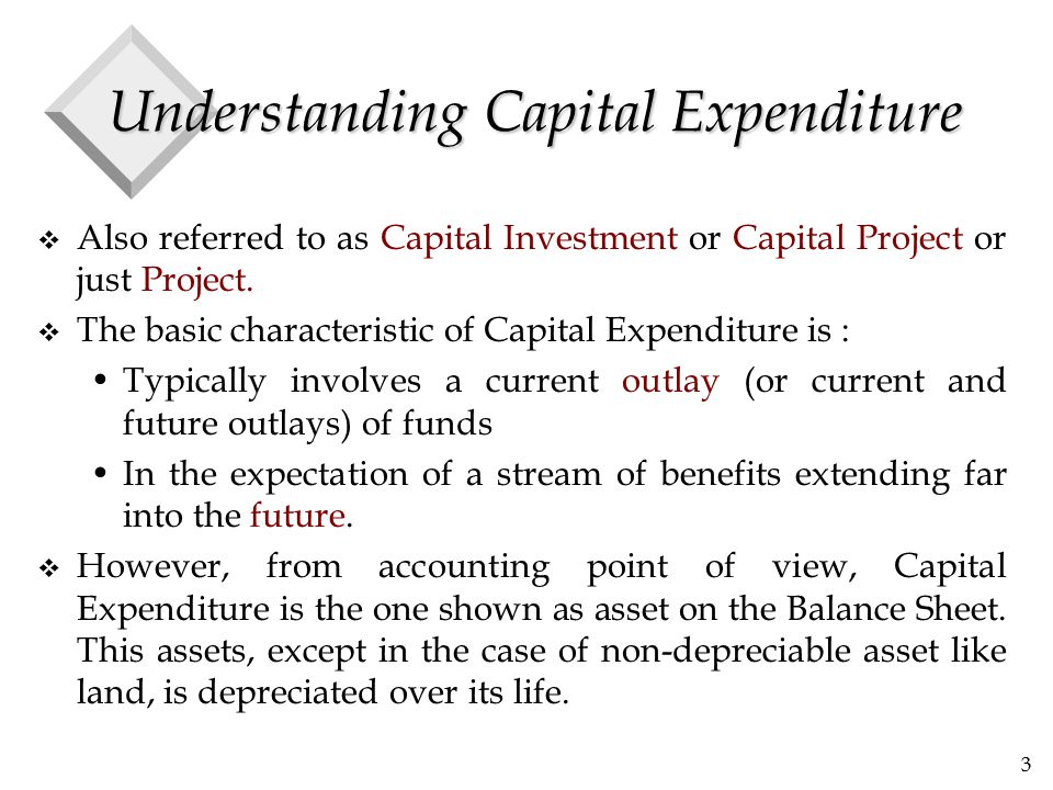 4 Understanding Capital Expenditure v In accounting, the classification of an expenditure as capital expenditure or revenue expenditure is governed by: Certain conventions Provisions of law Management's desire to enhance or depress reported profits.