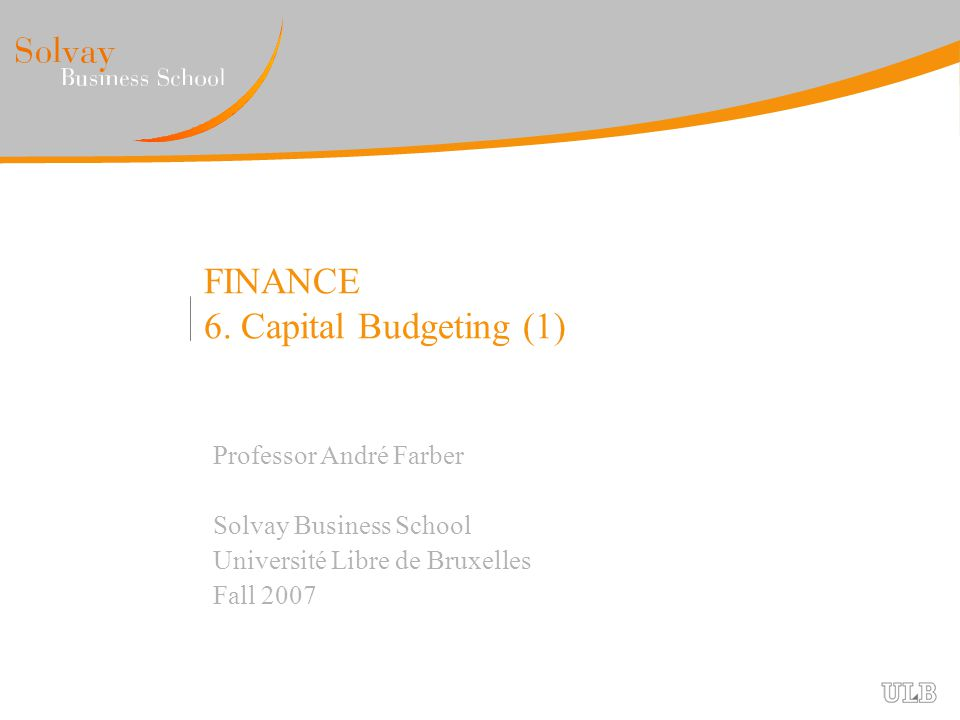 MBA 2007 Capital Budgeting (1) |2|2 Investment decisions Objectives for this session : Review investment rules NPV, IRR, Payback BOF Project Free Cash Flow calculation Sensitivity analysis, break even point Inflation