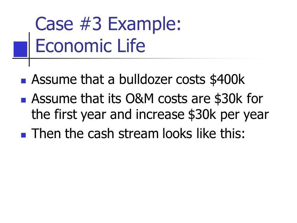 Case #3 Example: Economic Life Assume that a bulldozer costs $400k Assume that its O&M costs are $30k for the first year and increase $30k per year Th