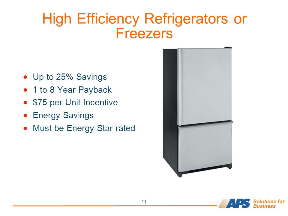 11 High Efficiency Refrigerators or Freezers  Up to 25% Savings  1 to 8 Year Payback  $75 per Unit Incentive  Energy Savings  Must be Energy Star rated