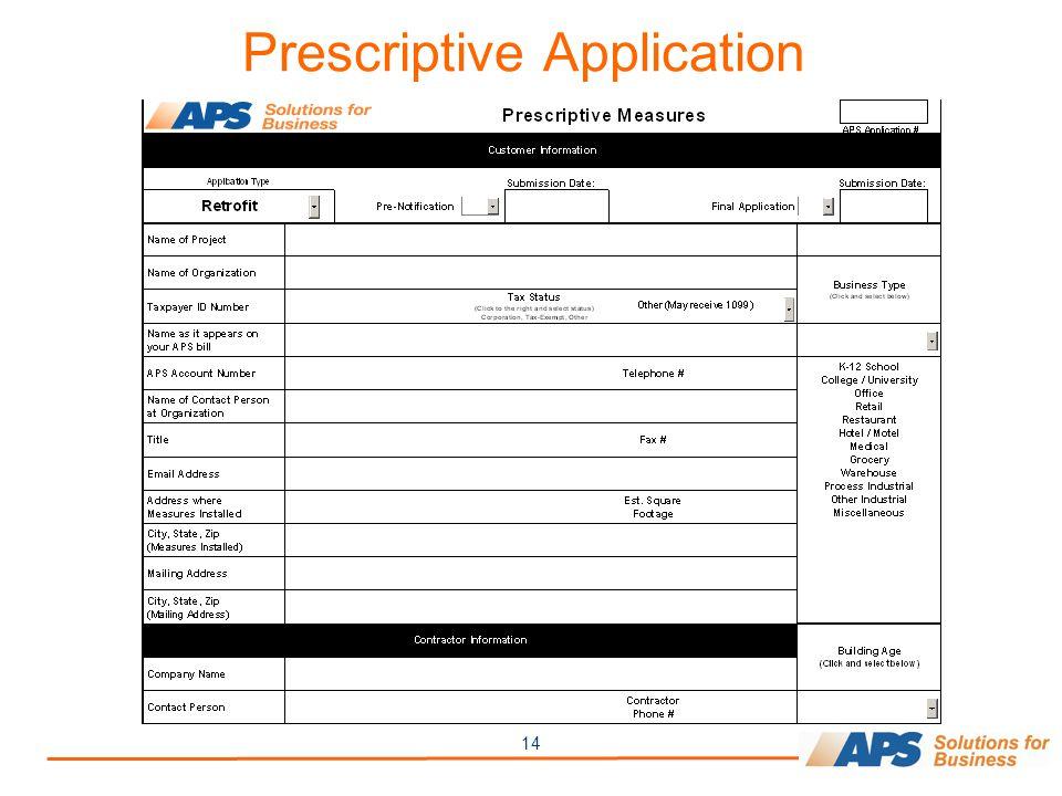 14 Prescriptive Application