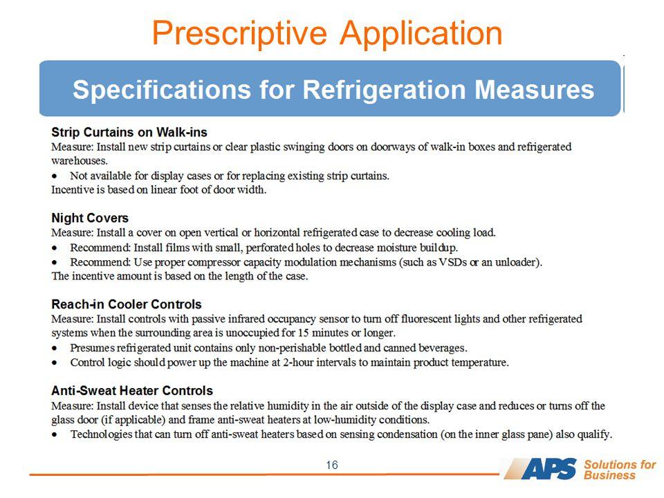 16 Prescriptive Application