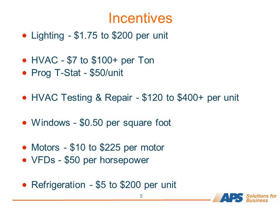 5 Incentives  Lighting - $1.75 to $200 per unit  HVAC - $7 to $100+ per Ton  Prog T-Stat - $50/unit  HVAC Testing & Repair - $120 to $400+ per unit  Windows - $0.50 per square foot  Motors - $10 to $225 per motor  VFDs - $50 per horsepower  Refrigeration - $5 to $200 per unit