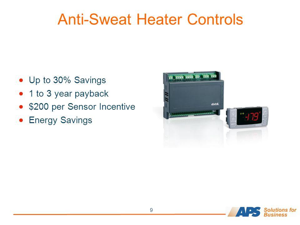 9 Anti-Sweat Heater Controls  Up to 30% Savings  1 to 3 year payback  $200 per Sensor Incentive  Energy Savings