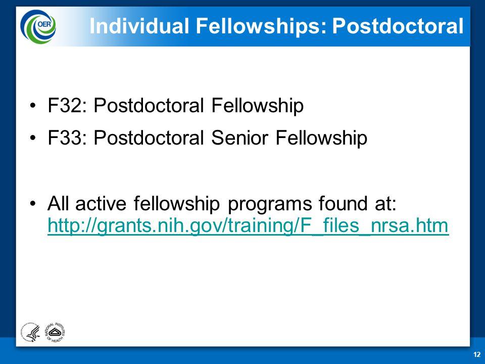 12 Individual Fellowships: Postdoctoral F32: Postdoctoral Fellowship F33: Postdoctoral Senior Fellowship All active fellowship programs found at: http