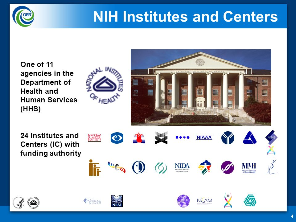4 NIH Institutes and Centers One of 11 agencies in the Department of Health and Human Services (HHS) 24 Institutes and Centers (IC) with funding autho