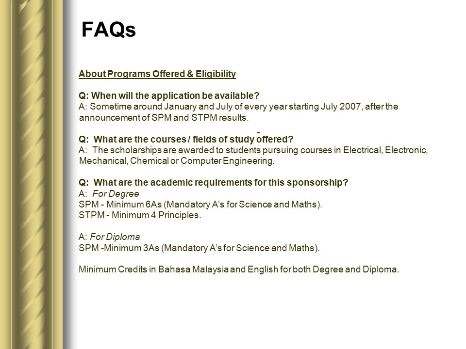 About Programs Offered & Eligibility Q: When will the application be available.