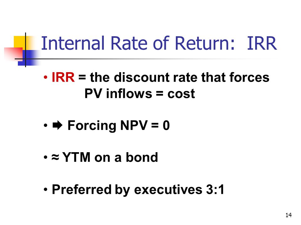 14 Internal Rate of Return: IRR IRR = the discount rate that forces PV inflows = cost  Forcing NPV = 0 ≈ YTM on a bond Preferred by executives 3:1