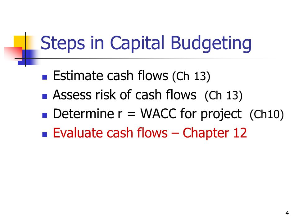 4 Steps in Capital Budgeting Estimate cash flows (Ch 13) Assess risk of cash flows (Ch 13) Determine r = WACC for project (Ch10) Evaluate cash flows – Chapter 12